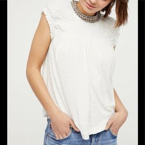 Free People Pearl Collared Smocked Swing Top